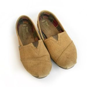 TOMS Tan Burlap Textured Woven Slip On Flats